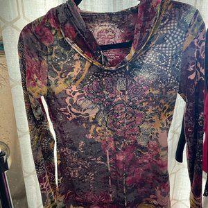 long sleeve rhinestone top with hoodie
